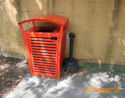 trash bin and cigarette disposal