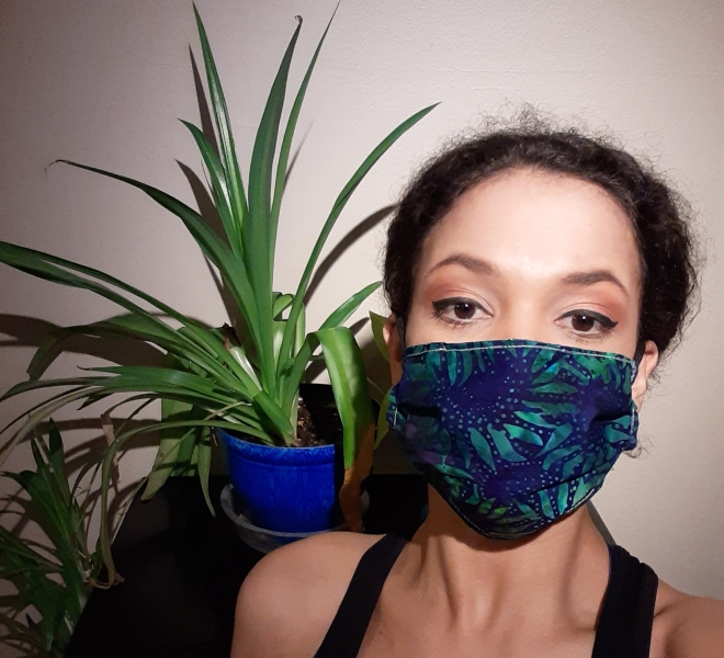 blue-green mask