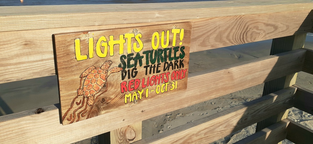 """Sign that says, """"lights out! sea turtles dig the dark. red lights only, may to october."""""""