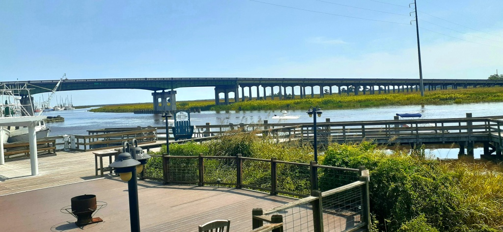 Short boardwalk and bushes on shore of river with bridge in background.